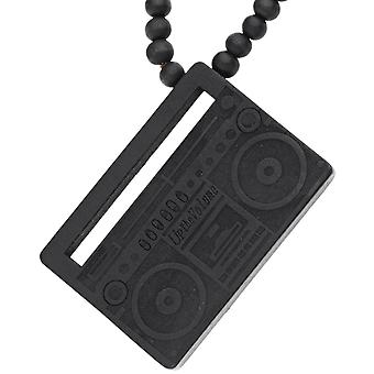 Wood style bead black chain - UP THE VOLUME