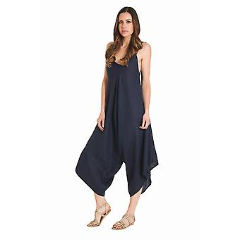 Ladies Lightweight Linen Culotte Dress - Navy One Size Loose Fit