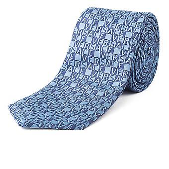 Versace Men's Slim Silk 'Versace' Block Lettering Pattern Blue Tie
