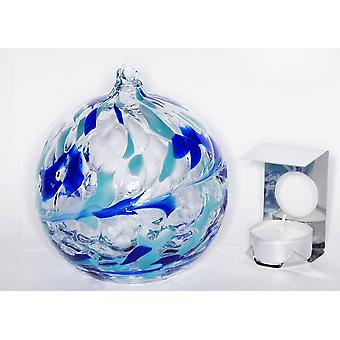 Milford Collection Hanging Glass Tealight Holder - Aquamarine