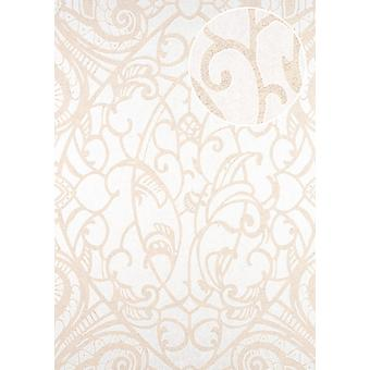 Baroque wallpaper ATLAS CLA-597-2 non-woven wallpaper 5.33 m2 coined graphical pattern shiny beige perl white with cream white