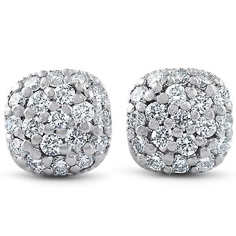 5/8ct Pave Diamond Cushion Studs 14k White Gold