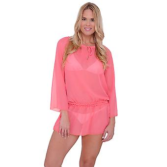 Abito Chiffon Long Sleeve Swimwear cover-up Beach femminile
