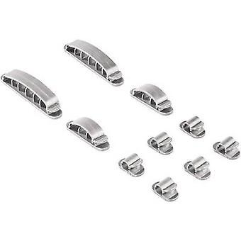 Hama Cable clips plástico plata 10