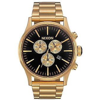 Nixon The Sentry Chrono Watch - Gold/Black