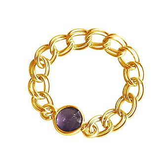 Gemshine - women's - ring - gold plated - Amethyst - violet - mobile - smooth