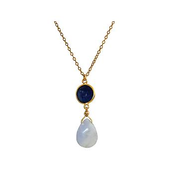 GEMSHINE necklace with Sapphire and chalcedony. Gemstone pendant from 925 Silver high-quality gold plated 60 cm chain. Made in Munich, Germany. Delivered in a fine case. Also as a set with earrings.