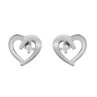 Orphelia Silver 925 Earring Heart With 1 Zirconium - zo-7370