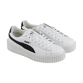 Puma Fenty By Rihanna Creeper Womens White Leather Casual Lace Up Sneakers Shoes