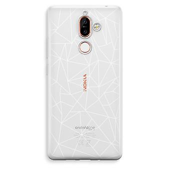 Nokia 7 Plus Transparent Case (Soft) - Geometric lines white