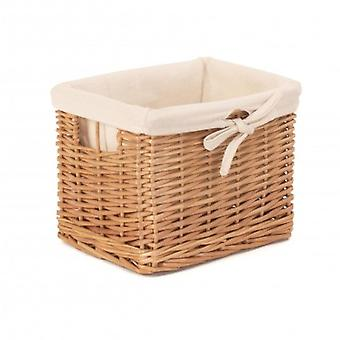 Small Deep Storage Wicker Basket with Cotton Lining