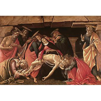 Lament fro Christ Dead, with St. jerome, Sandro Botticelli, 40x60cm with tray