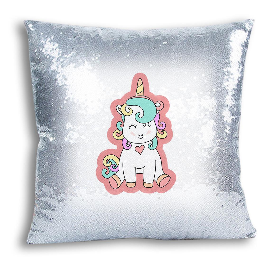Design For I Cover With Printed Inserted tronixsUnicorn Silver Sequin CushionPillow 19 Decor Home qpSUzVM