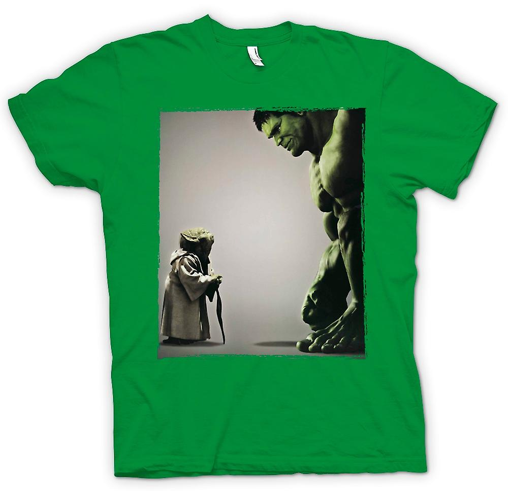 Mens T-shirt - Yoda V Incredible Hulk - Super Hero