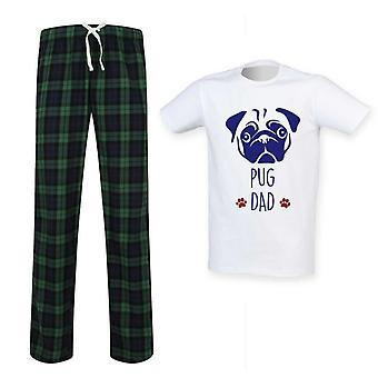 Mens Pug Dad Tartan Pyjama Set