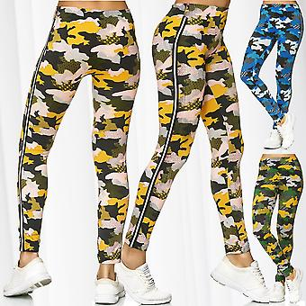 Vrouwen Leggings Camouflage Sport training Treggings broek Stretch strepen