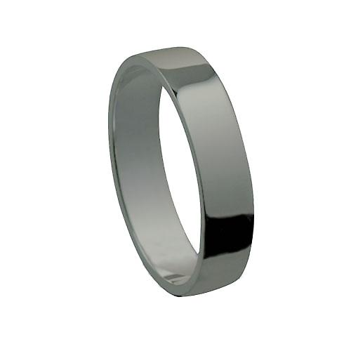 Platinum 5mm plain Flat Wedding Ring