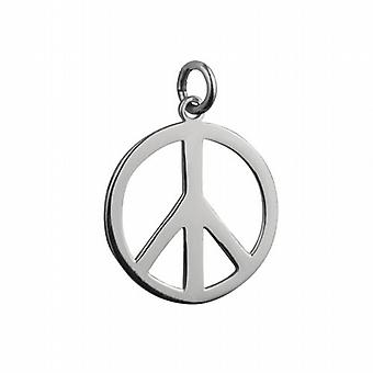 Silver 23mm round plain Ban the Bomb Pendant