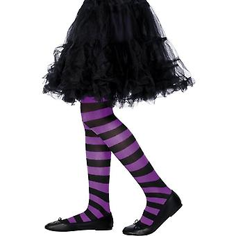 Girls Purple & Black Striped Tights Fancy Dress Accessory