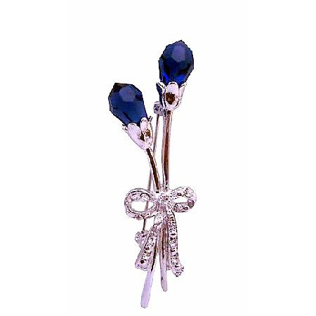 Sapphire Czech Tulip Flower Spectacular Silver Plated Dress Brooch Pin