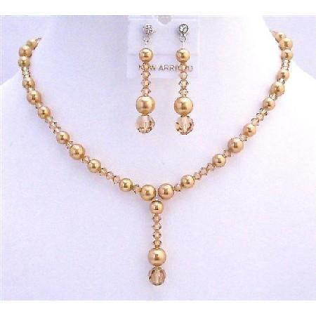 Golden Wedding Jewelry Swarovski Lite Colorado Crystals Golden Pearls