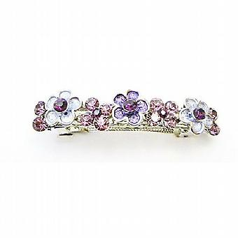 Crystals Hair Accessories Purple Flower Barette w/ Amethyst Crystals