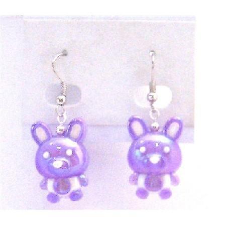 Fancy Purple Bunny Rabbit Earrings Easter Bunny Rabbit Holiday Jewelry