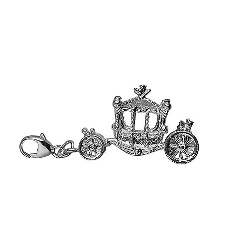 Silver 15x22mm Coronation Coach Charm with a lobster catch