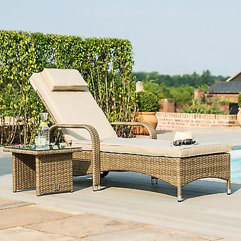 Maze Rattan Tuscany Florida Sun Lounger with Side Table