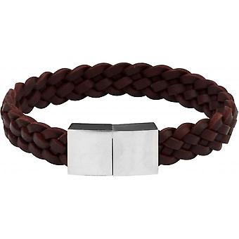 Clio Blue BR2164S-BROWN - Leather Brown steel man Bracelet bracelet