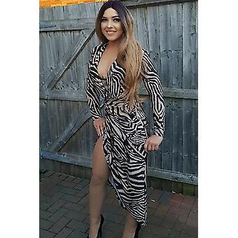 Zebra Print Plunge Neck Structured Dress