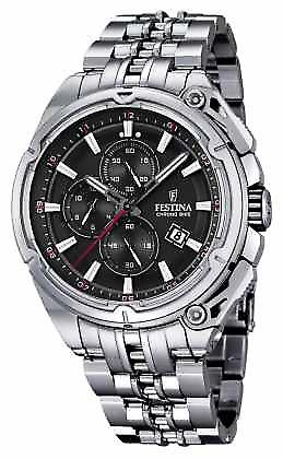 Festina Mens 2015 Chronobike Steel, Black Dial F16881/4 Watch