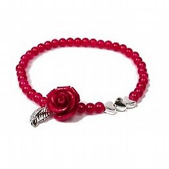 POM Hot Pink Rose & Silvertone Hearts Glass Bead Elasticated Bracelet