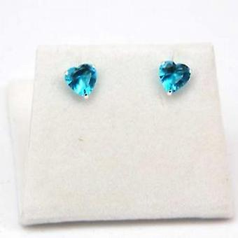 The Olivia Collection Sterling Silver Blue Cz Heart Shaped Earrings 6mm