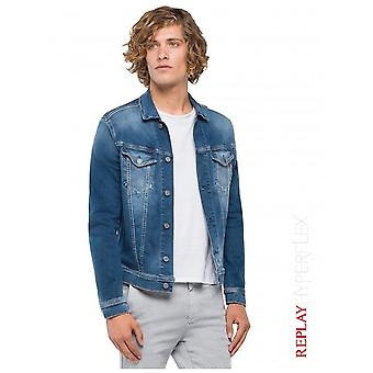 Replay Jeans Hyperflex Jacket Used Effect - Medium Blue