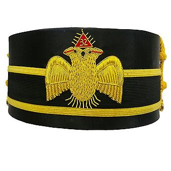 32nd Degree Scottish Rite Double-Eagle Wings DOWN Cap Bullion Hand Embroidery