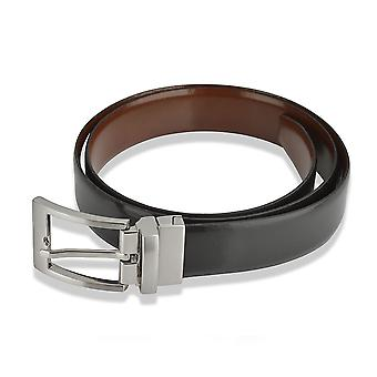 Mens Classic 28mm lederen riem zwart met Tan Reversible