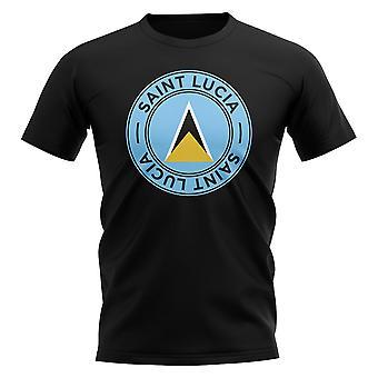 Saint Lucia fotboll Badge T-shirt (svart)