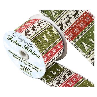 Festive Pattern Wired Edge Christmas Craft Ribbon - 60mm x 9.1m
