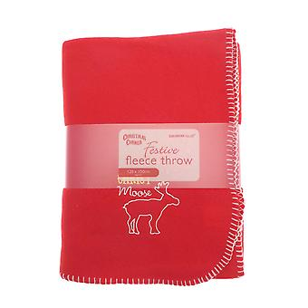 Red Fleece Blanket With Festive Xmas Motif: Moose