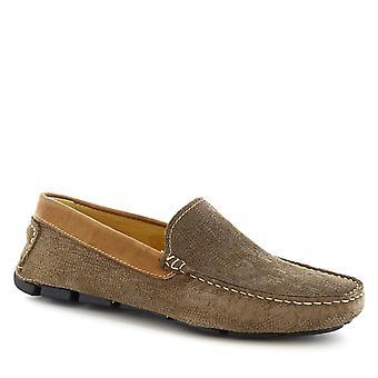 Fait à la main Slip-on de Leonardo chaussures hommes mocassins de conduite en cuir de daim taupe
