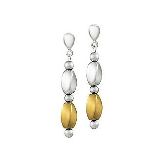 Eternal Collection Visage Silver And Gold Hematite Drop Clip On Earrings