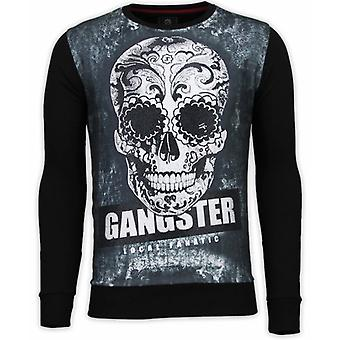 Gangster Skull-Digital Rhinestone Sweatshirt-Black