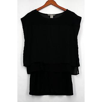 Kate & Mallory Top Short Sleeve Popover Top  Length Underlay Black A425144