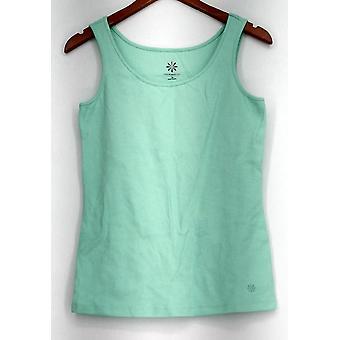 Isaac Mizrah Top Scoop Neck Knit Sleeveless Tank Green
