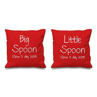 Personalised Big Spoon Little Spoon Red Cushion Covers 16