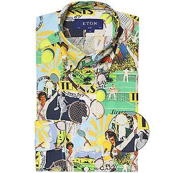 Eton Slim Fit Tennis Collage Shirt