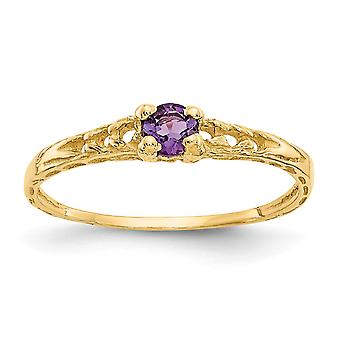 14k Yellow Gold Polished 3mm Amethyst for boys or girls Ring - Size 3