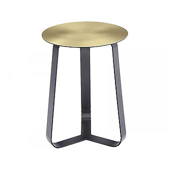 Libra Furniture Shiny Brass Circular Side Table With Black Legs