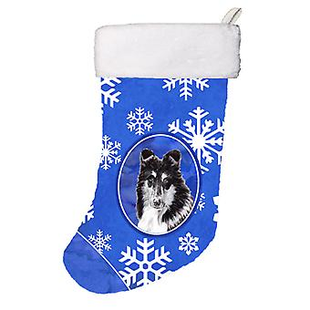 Black and White Collie Winter Snowflakes Christmas Stocking